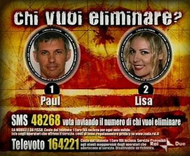 Il televoto tra Paul e Lisa