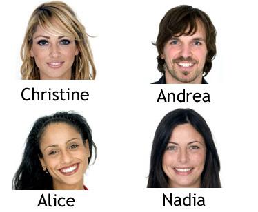 Christine, Andrea, Alice e Nadia