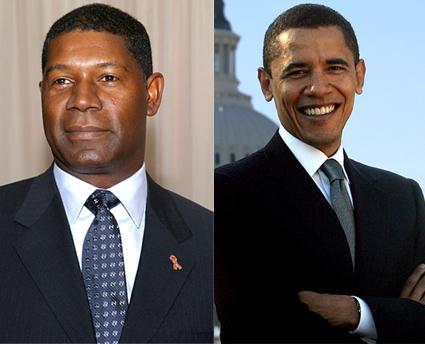 Il finto presidente David Palmer e il neo presidente Barack Obama