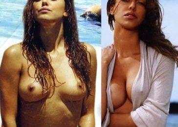 Belen Rodriguez prima e dopo l'intervento al decolleté