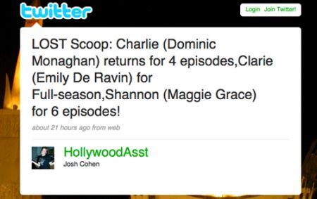Lost, casting news su Twitter