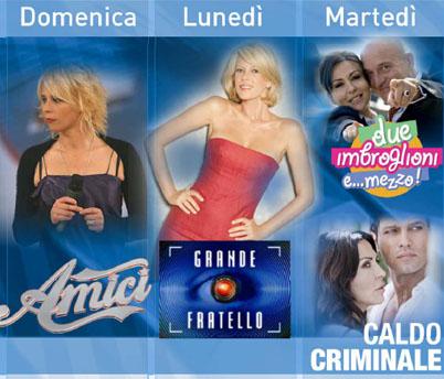 Prime time di Canale 5 2010 dalla domenica al martedì