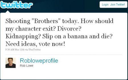 Rob Lowe scherza sul suo addio da Brothers and Sisters su Twitter