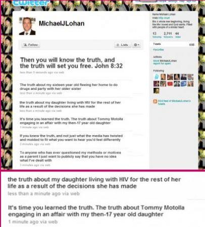 Il padre di Lindsay Lohan sostiene su Twitter cge ka figlia ha l'AIDS