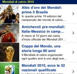 I Mondiali di Calcio 2010 su iPhone con Nanopress