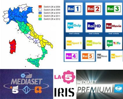 Digitale terrestre copertura Mediaset e Rai regione per regione
