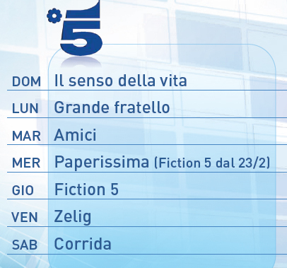 mediaset palinsesto 2011 Canale5 prime time