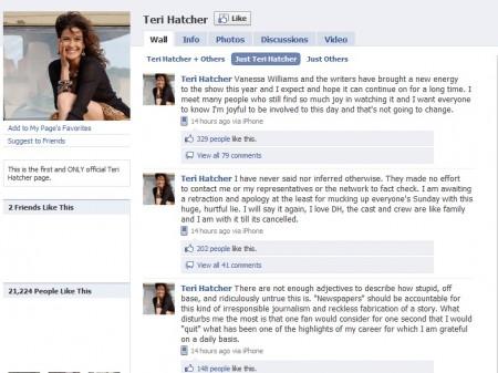 Desperate Housewives, Teri Hatcher smentisce l'addio