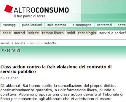 Rai, da Altroconsumo una class action per violazione del contratto di servizio