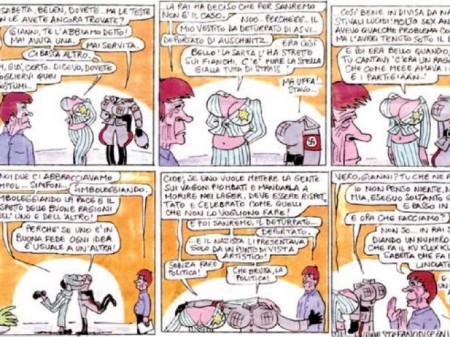 Belen/Canalis e la vignetta senza testa, accuse, risposte, la polemica continua