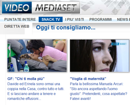 Canale 5, streaming web snack tv