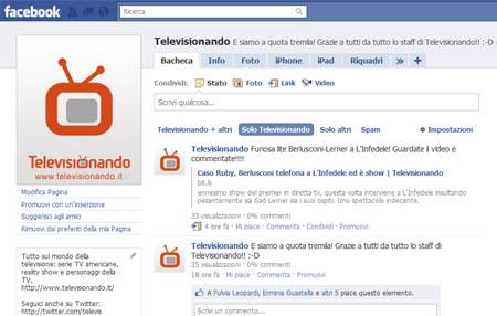 Televisionando su Facebook, raggiunta quota 3000