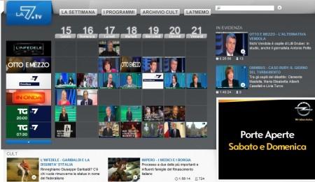 LA7TV, streaming