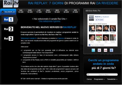 Rai.tv, Rai replay