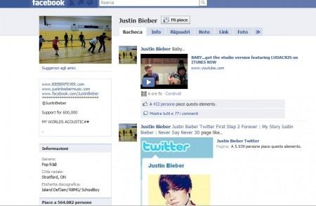 Justin bieber, facebook, pagina fan aggiornata