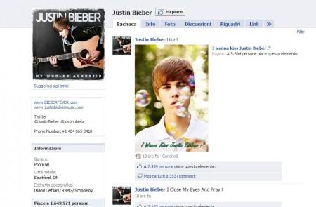 Justin bieber, facebook, fan page