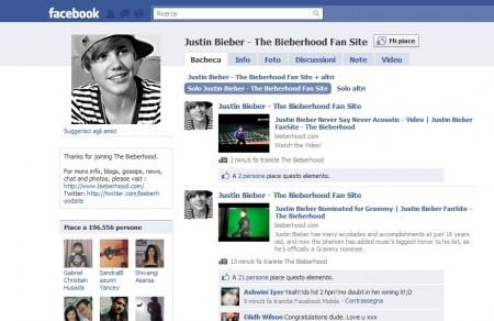 Justin Bieber, bieberhood fansite, facebook