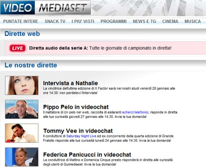 Canale 5, streaming dirette web