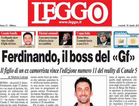 GF 11, anche Leggo dà Ferdinando Giordano vincitore