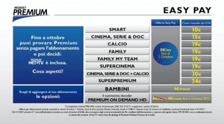 easy pay prezzi listino mediaset premium