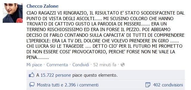 Checco Zalone si scusa per la parodia di Misseri. Ma lo show non convince