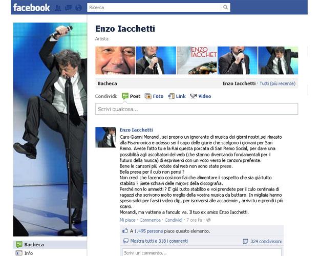 Enzo Iacchetti manda affan*** Morandi: è giallo su Facebook