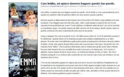 Emma dispiaciuta per le parole di Kekko dei Modà: Sanremo 2012 lo abbiamo vinto insieme