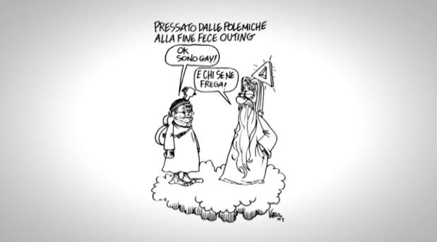 Lucio Dalla, da Vauro una vignetta sulle polemiche per l'outing