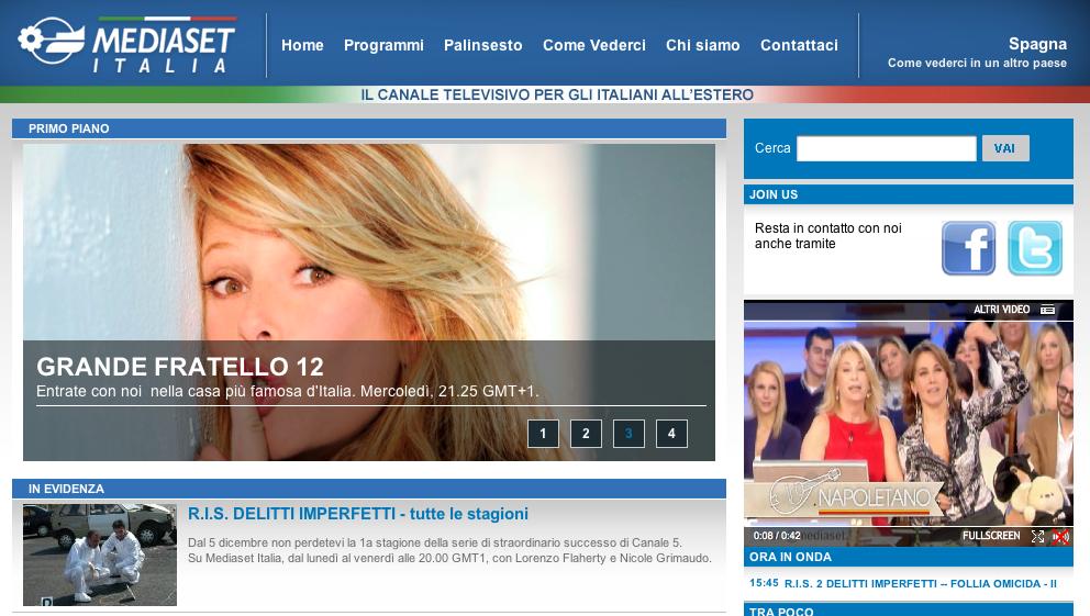 mediaset italia schermata spagna