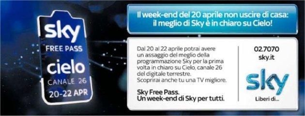 Sky Free Pass: su Cielo questo weekend arriva il meglio di Sky