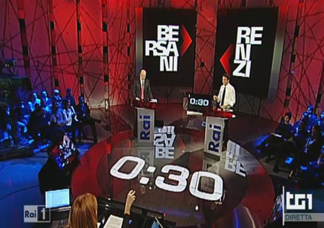 Confronto tv Renzi-Bersani: una sfida tra abbracci e scintille