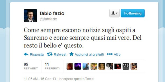 Fabio Fazio Twitter Sanremo