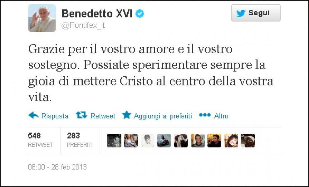 Ultimo Tweet di Papa Ratzinger