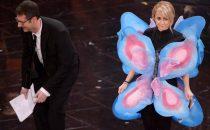 Luciana Littizzetto vestita da farfalla a Sanremo 2013