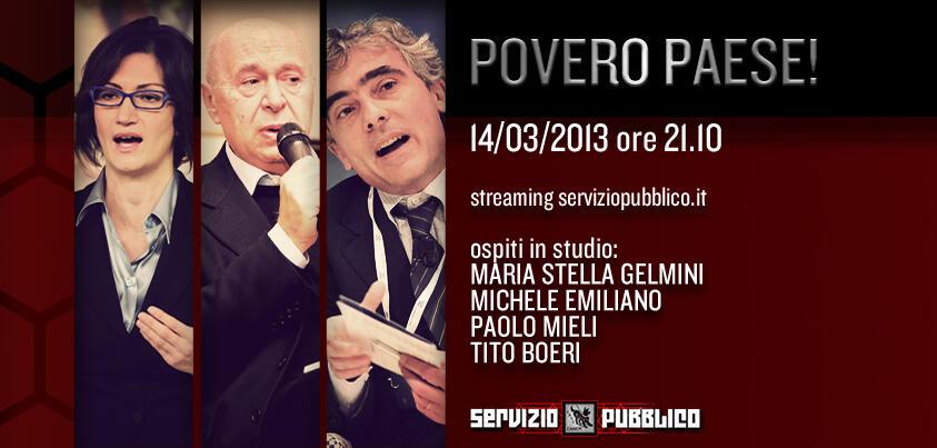 Servizio Pubblico: Mariastella Gelmini ospite di Santoro nella diciassettesima puntata