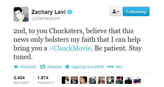 Tweet Zachary Levi