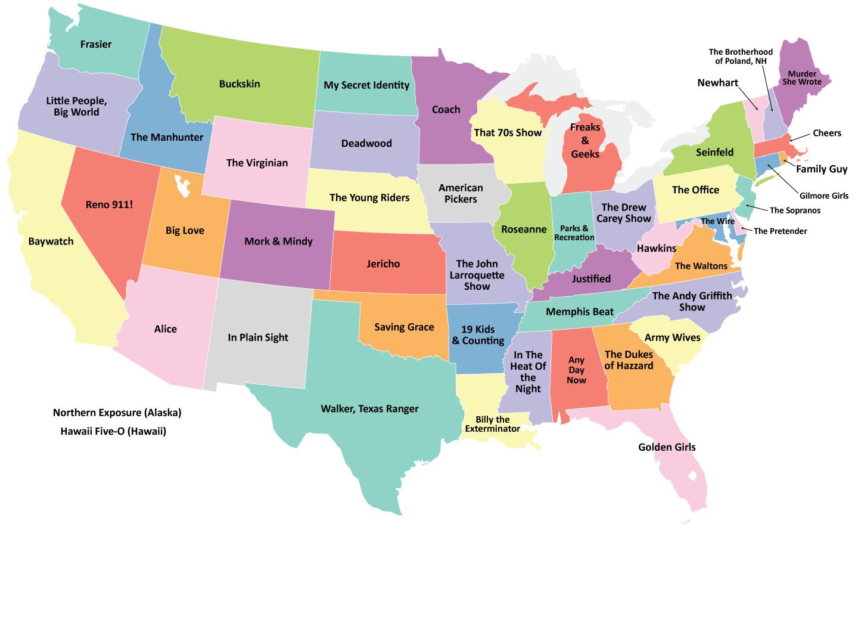 Immagini Cartina Stati Uniti.La Mappa Degli Stati Uniti Secondo Le Serie Tv Americane Televisionando