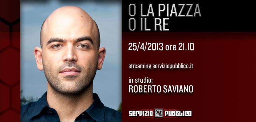 Servizio Pubblico: Roberto Saviano in studio con Michele Santoro