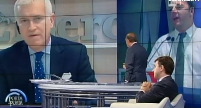 Porta a Porta: Vespa toglie l'audio a Belpietro, il giornalista minaccia di andarsene