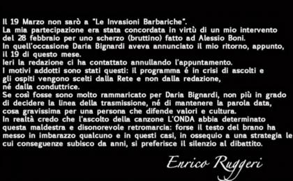 Le Invasioni Barbariche, Enrico Ruggeri contro Daria Bignardi: 'La mia ospitata cancellata'
