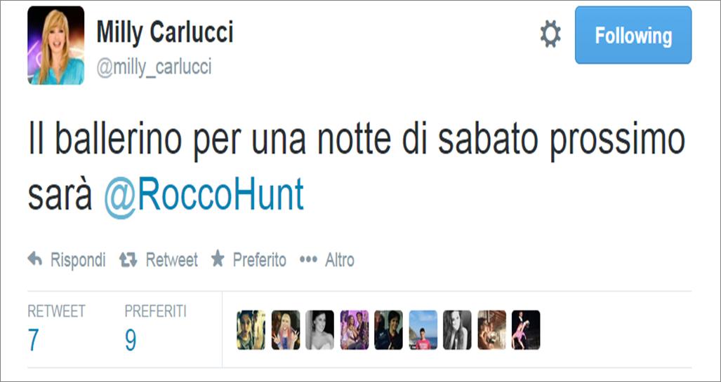 Milly Carlucci annuncia Rocco Hunt