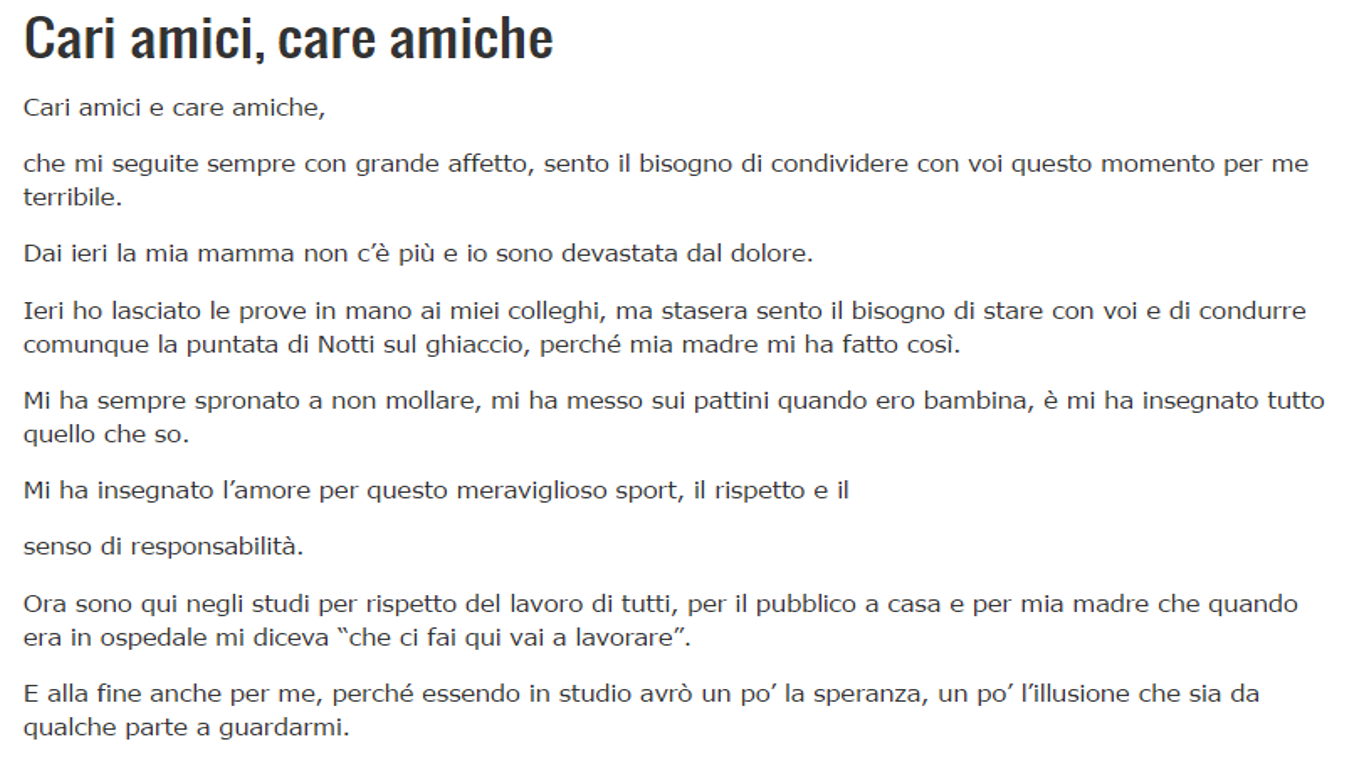 Lettera Milly