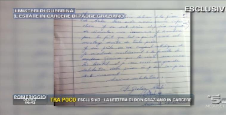La lettera in francese di Padre Graziano