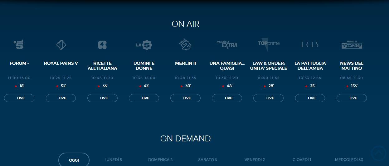 Canali Mediaset in streaming: diretta gratis su sito e app per Canale5, Italia1 e altri