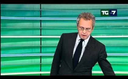 Tg La7, Mentana si 'santorizza' e congela le dimissioni in diretta tv (video)