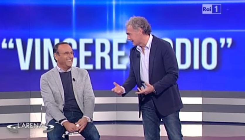 Carlo Conti presenta i nomi dei Campioni a L'Arena
