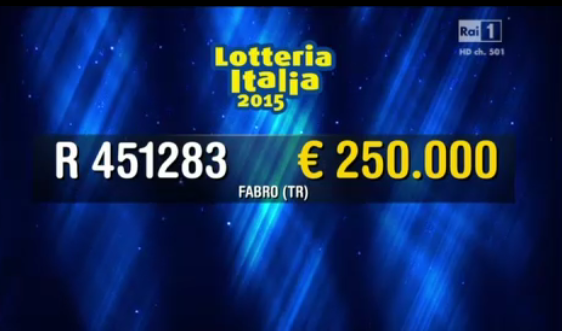 Sesto premio Lotteria Italia, 250.000 euro a Terni