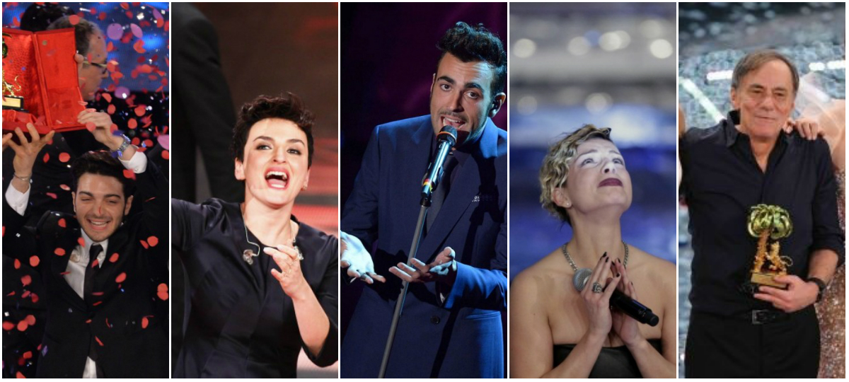 Ultimi cinque vincitori Sanremo