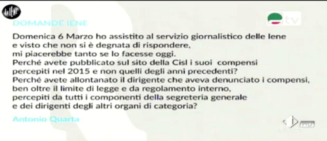 Nadia Toffa, le domande ad Annamaria Furlan