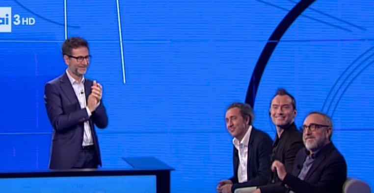 Fazio con gli ospiti Sorrentino Jude Law e Silvio Orlando